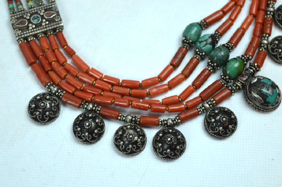 Good Tibetan Coral, Turquoise, Silver Necklace - 2