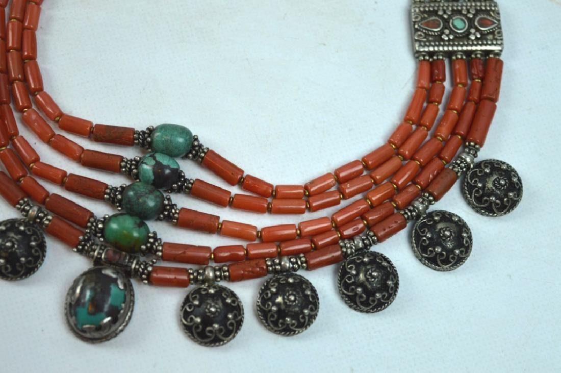 Good Tibetan Coral, Turquoise, Silver Necklace - 3