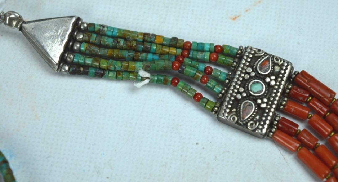 Good Tibetan Coral, Turquoise, Silver Necklace - 4