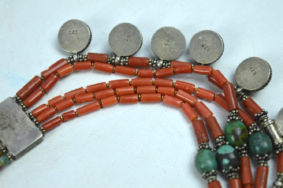 Good Tibetan Coral, Turquoise, Silver Necklace - 5