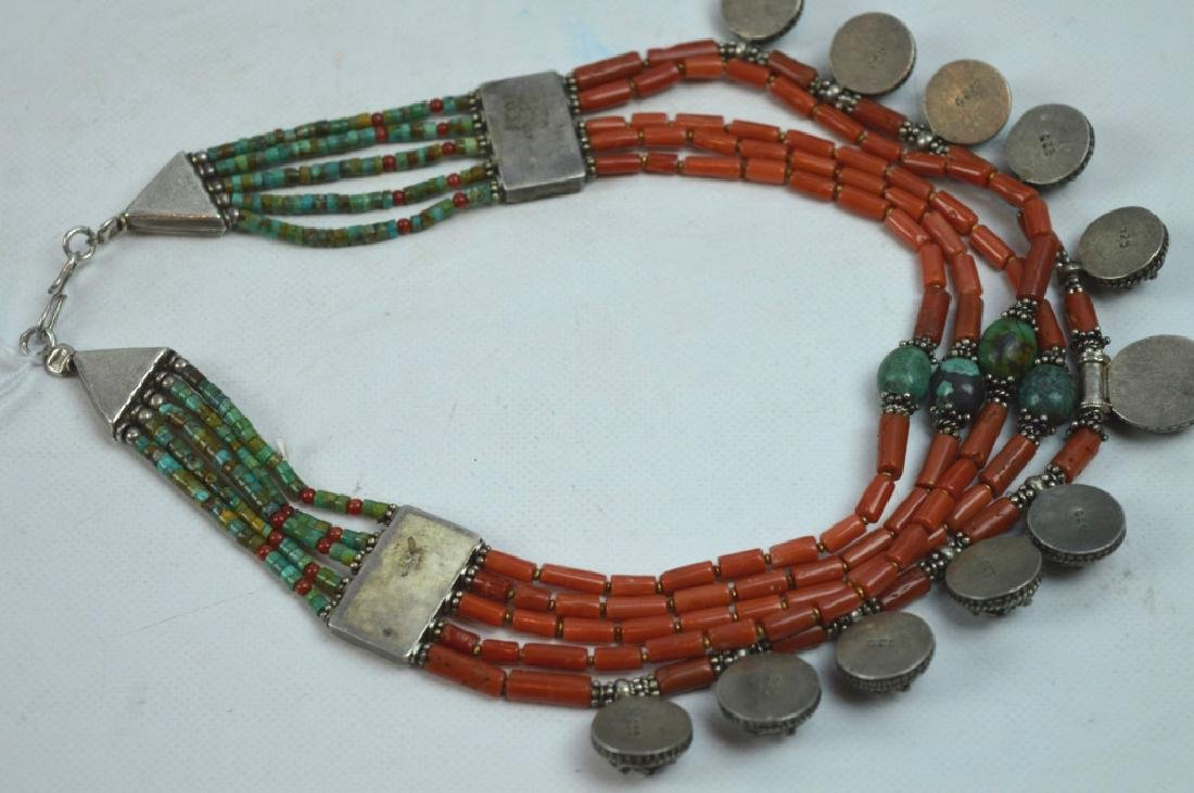 Good Tibetan Coral, Turquoise, Silver Necklace - 6