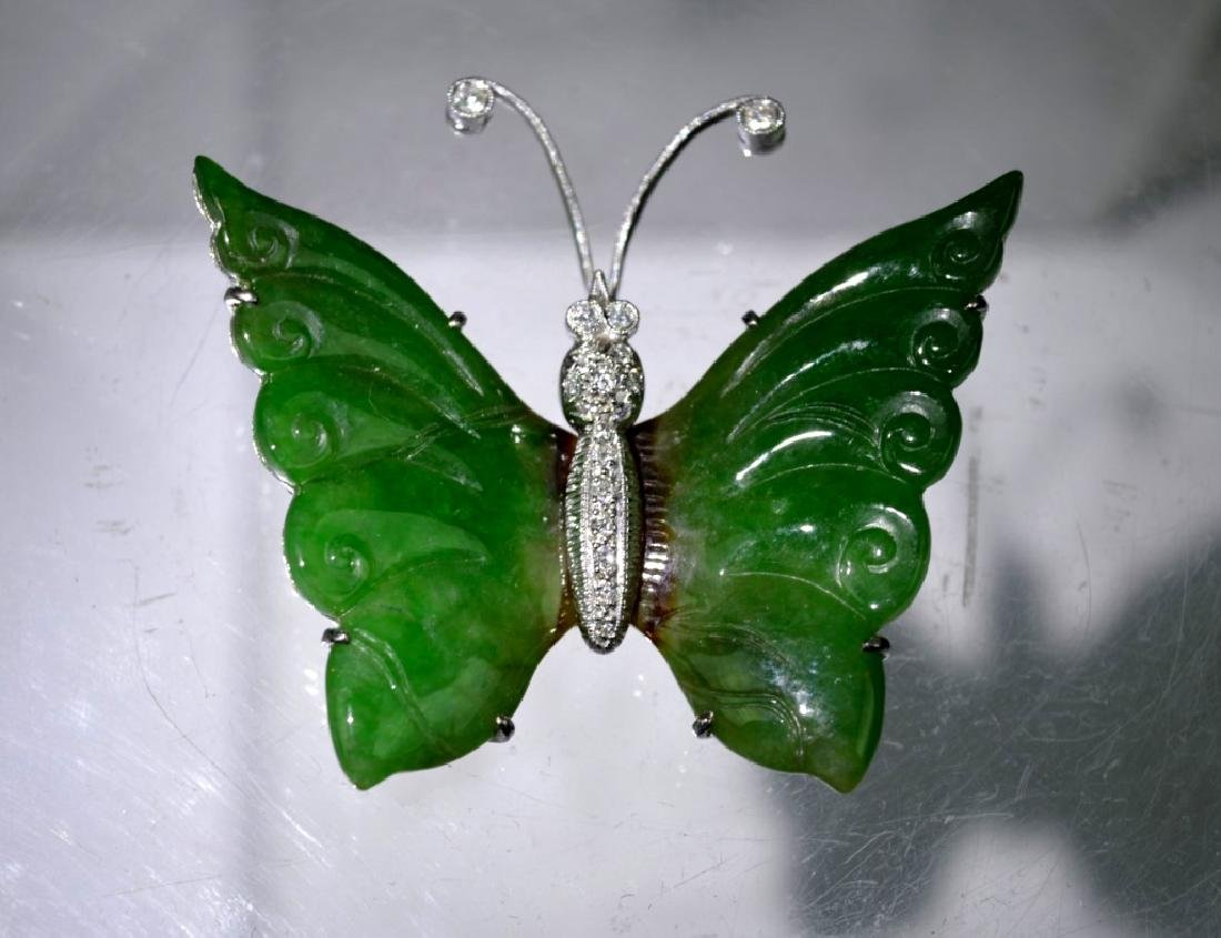 GIA Certified Natural Jadeite & 18K Butterfly Pin