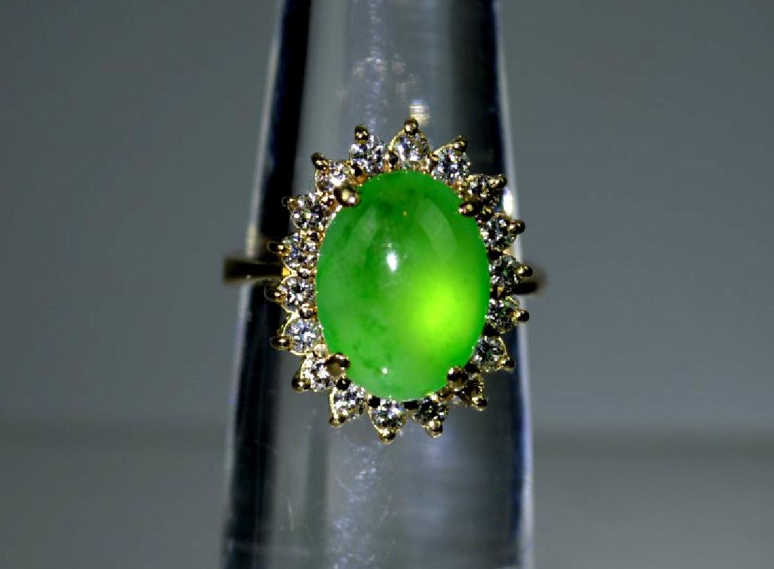 GIA Certified Natural Jadeite Cabochon & 14K Ring