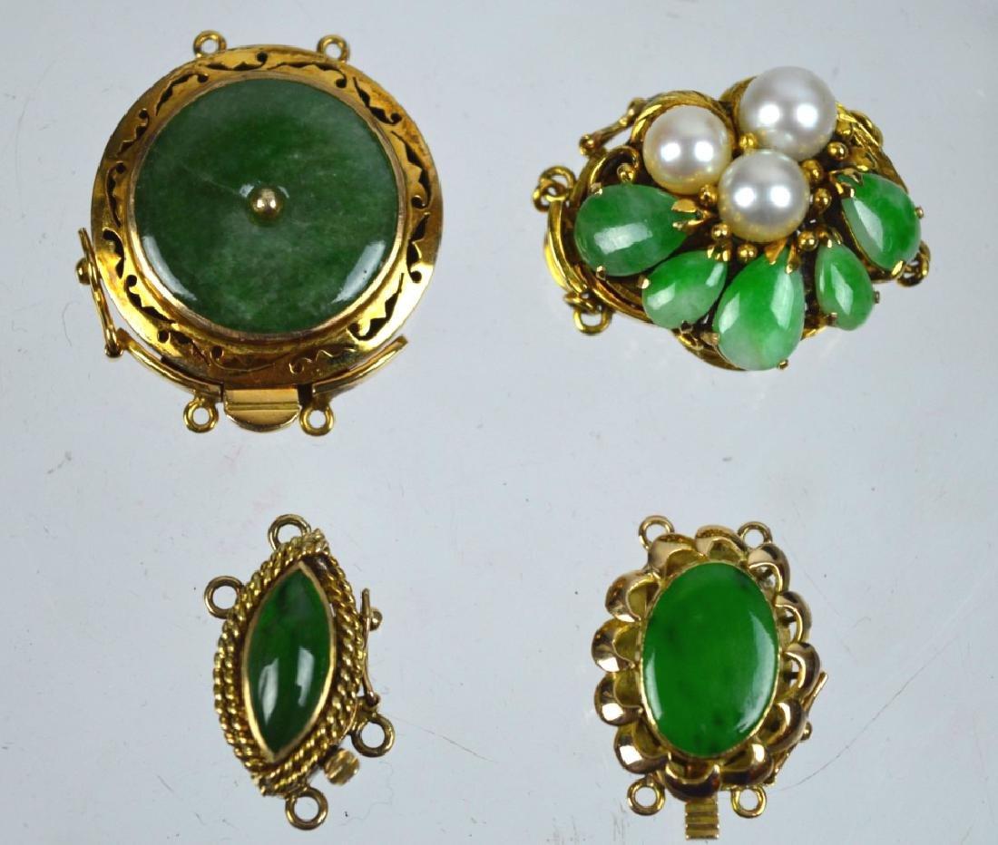 4 - 14K Gold Closures Natural Jadeite Set