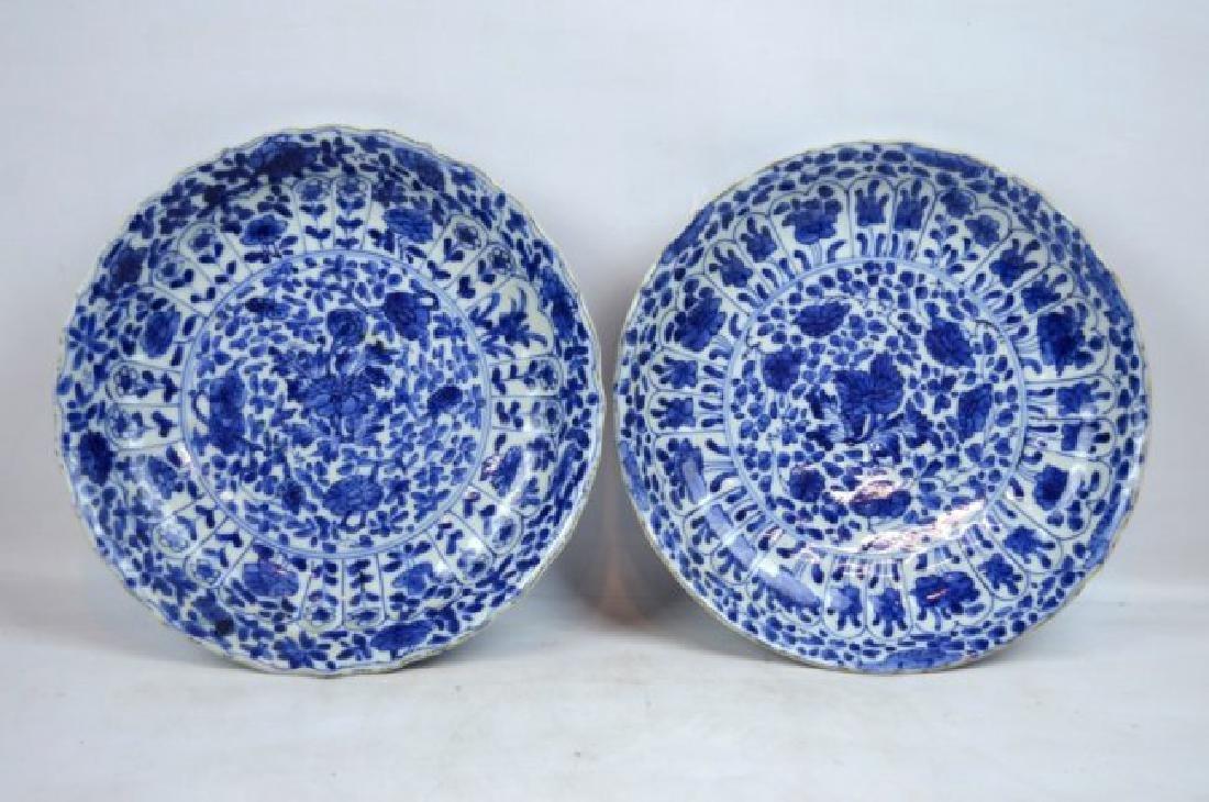 Pair Chinese Kangxi B & W Porcelain Plates