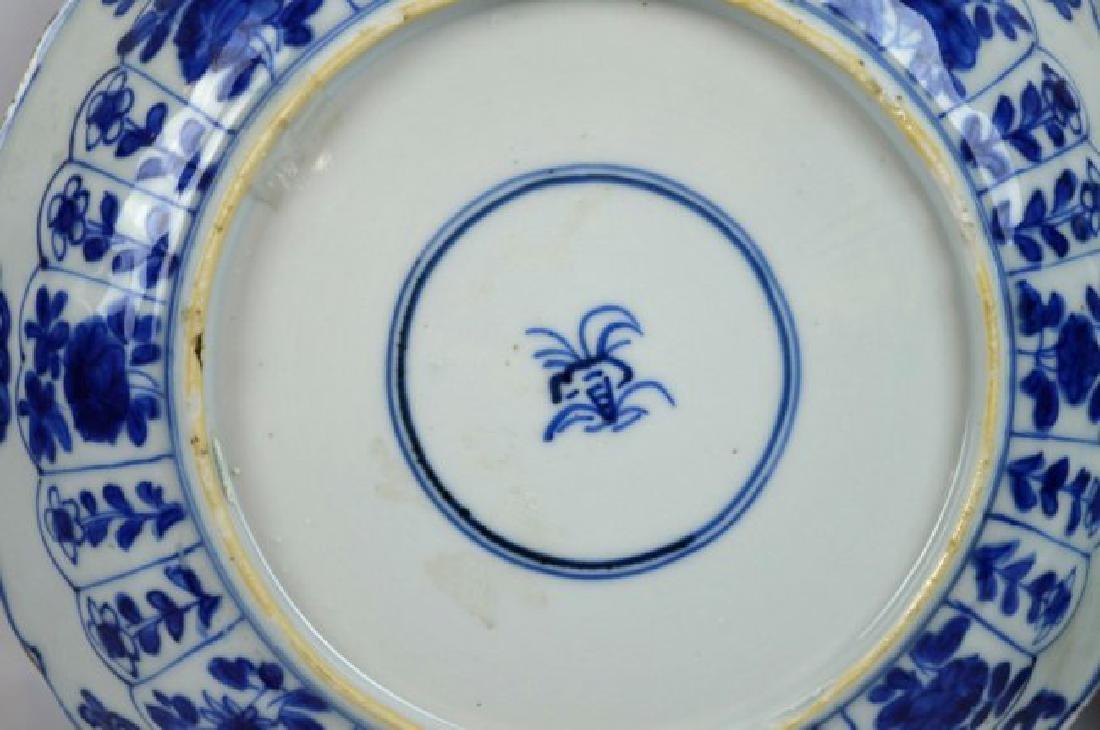 Pair Chinese Kangxi B & W Porcelain Plates - 7
