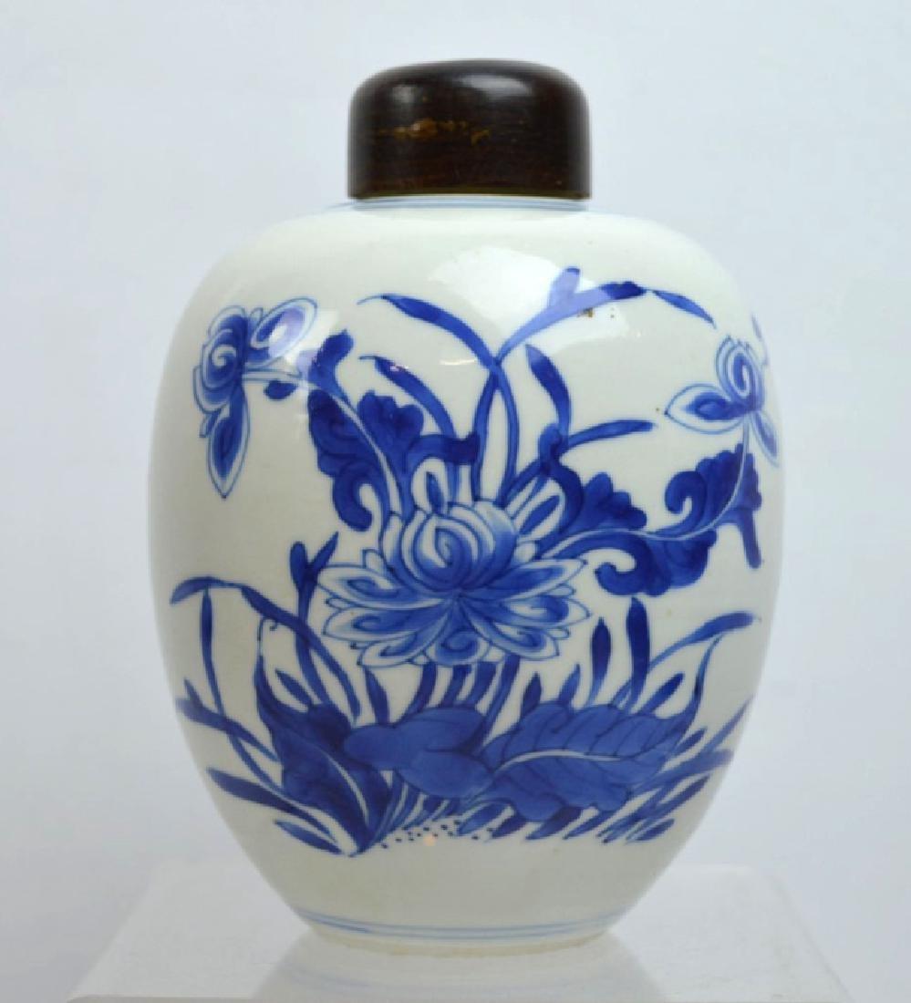 Kangxi Chinese Blue & White Porcelain Tea Jar