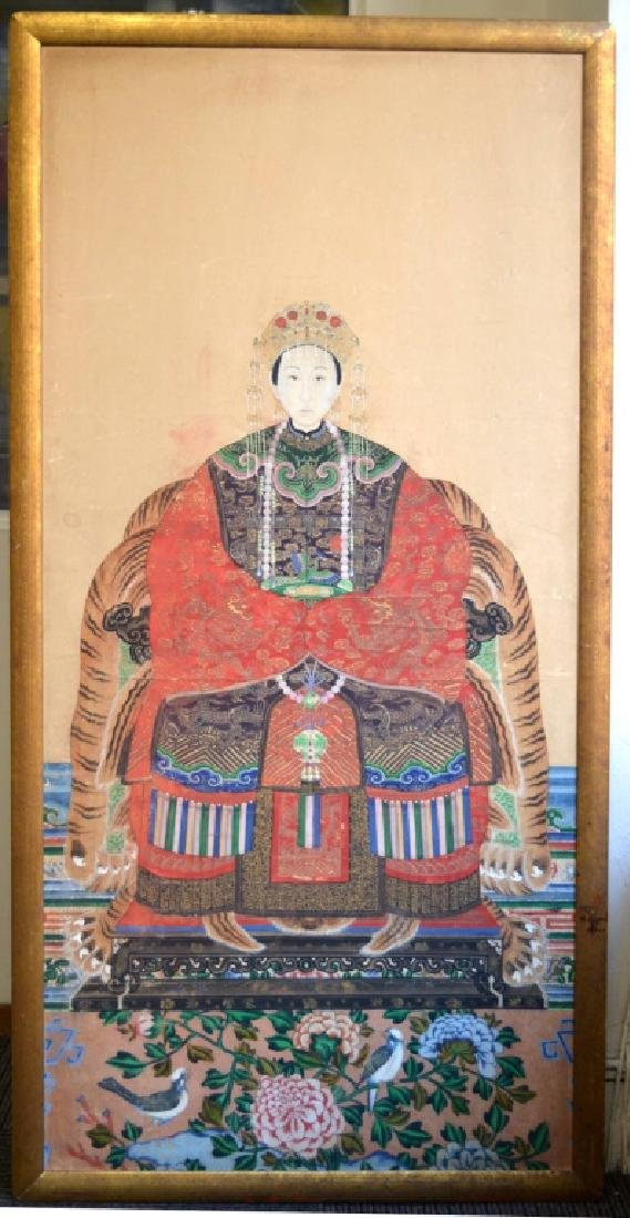 Qing Chinese High Rank Pretty Ancestor Painting