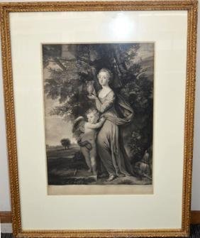 """Mezzotint """"Miss Greville & Brother"""" before letters"""