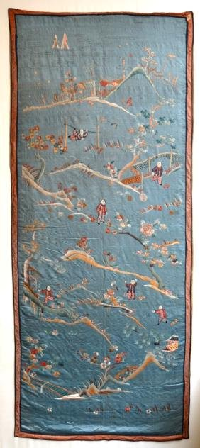 Large Chinese Silk Embroidered Panel
