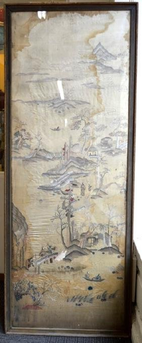Large Chinese Silk Embroidered Landscape Panel
