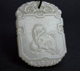 Thick Chinese Carved White Jade Pendant