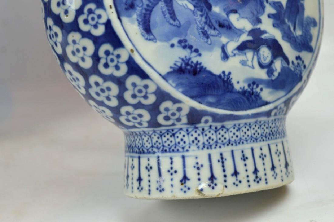 Pair 19th C Chinese B & W Porcelain Moon Vases - 7