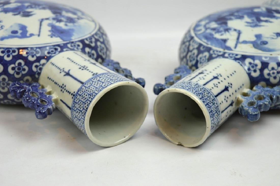 Pair 19th C Chinese B & W Porcelain Moon Vases - 9