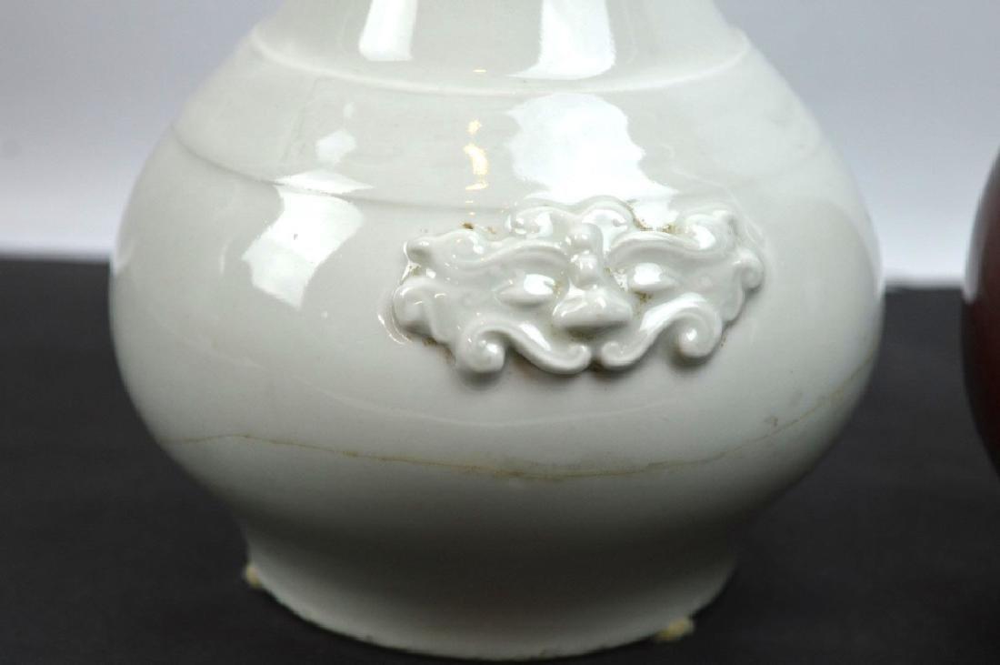 17C Chinese Blanc de Chine Vase; 19C Red Vase - 2