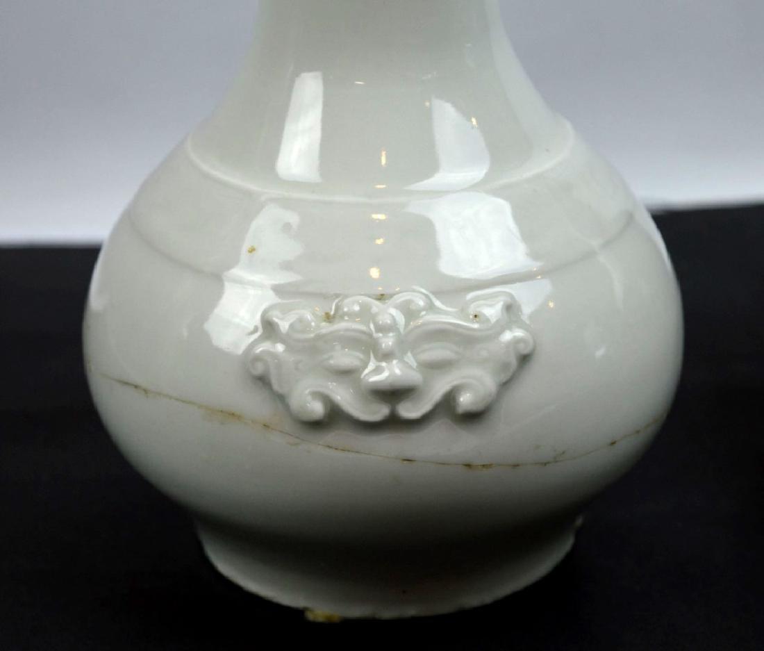 17C Chinese Blanc de Chine Vase; 19C Red Vase - 3