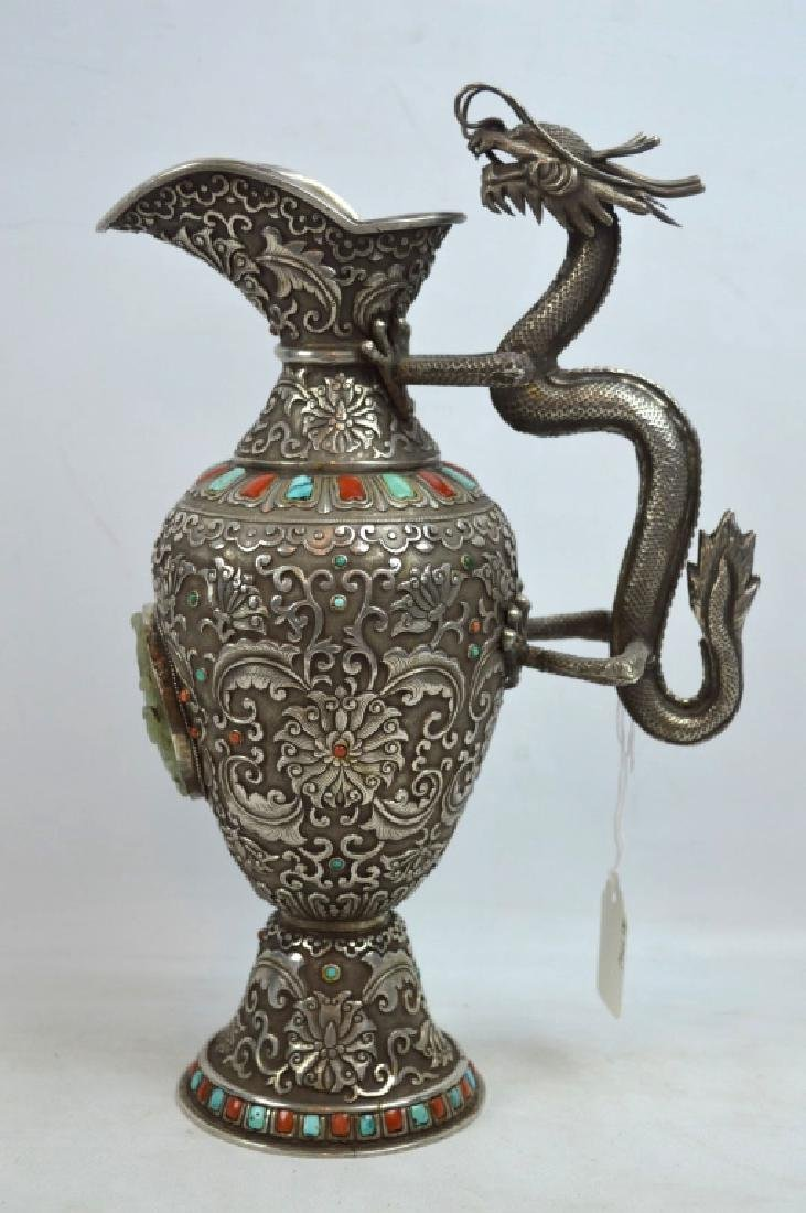 Fine 19C Mongolian Jewel Covered Solid Silver Ewer