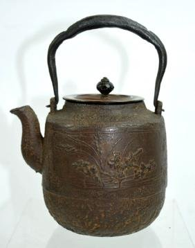 Finely Cast 19th C Iron Japanese Small Teapot