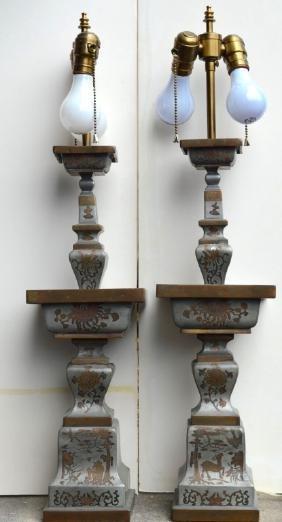 Antique Chinese Bronze-Edged Pewter Altar Sticks