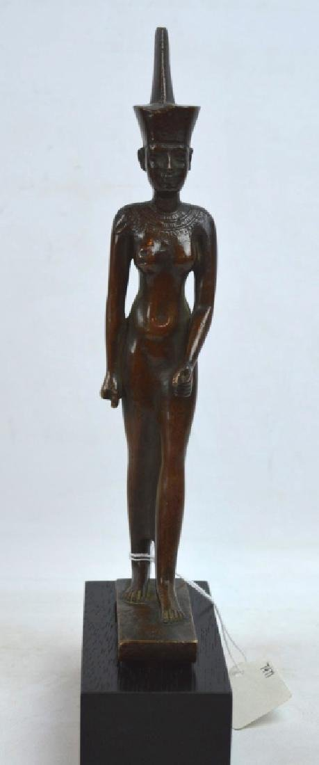 Bronze Egyptian Walking Woman on Stand