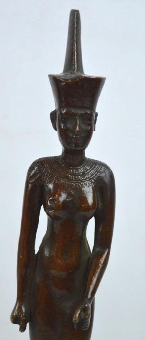 Bronze Egyptian Walking Woman on Stand - 2