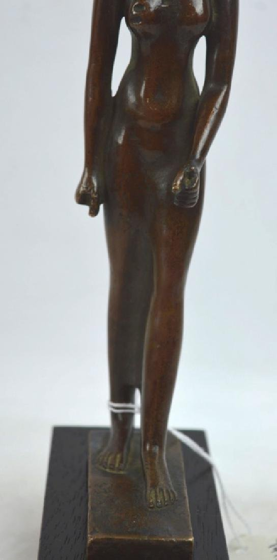 Bronze Egyptian Walking Woman on Stand - 3