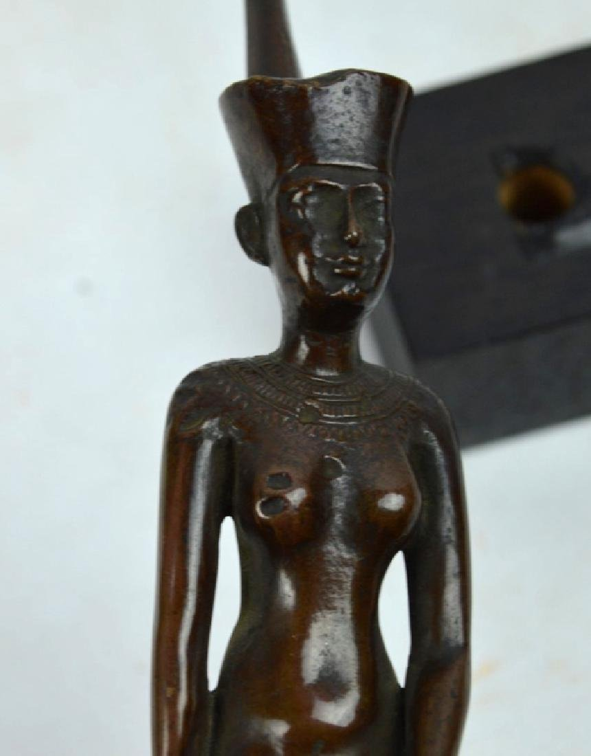 Bronze Egyptian Walking Woman on Stand - 7