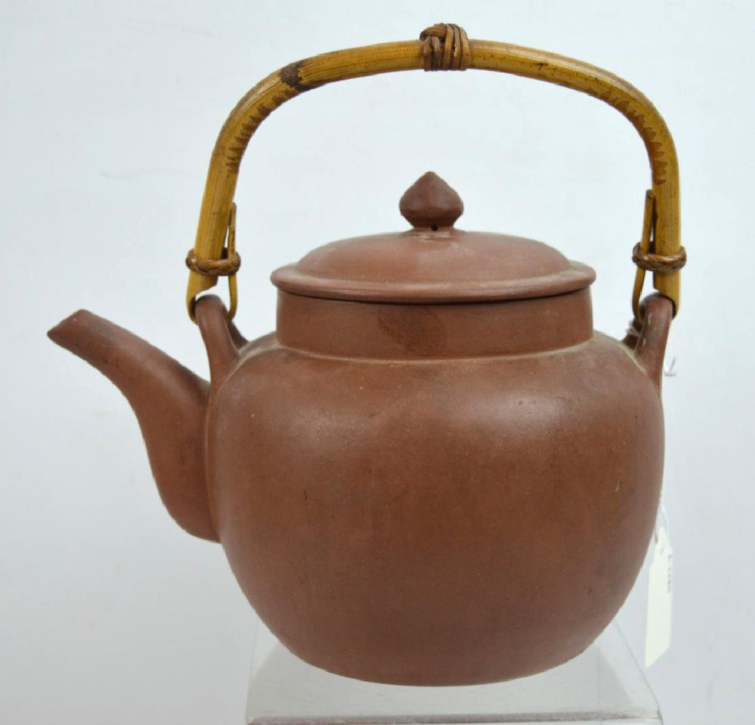 Large Old Chinese Yixing Teapot with Bamboo Handle