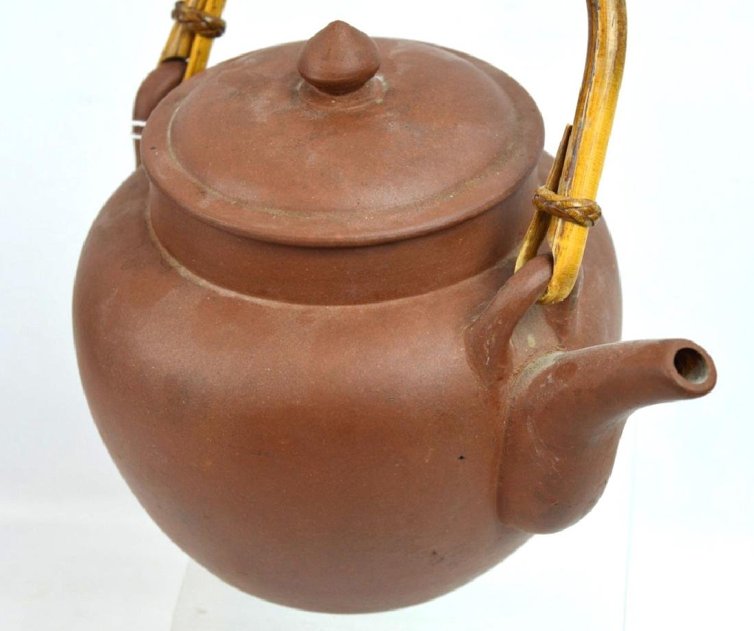 Large Old Chinese Yixing Teapot with Bamboo Handle - 3