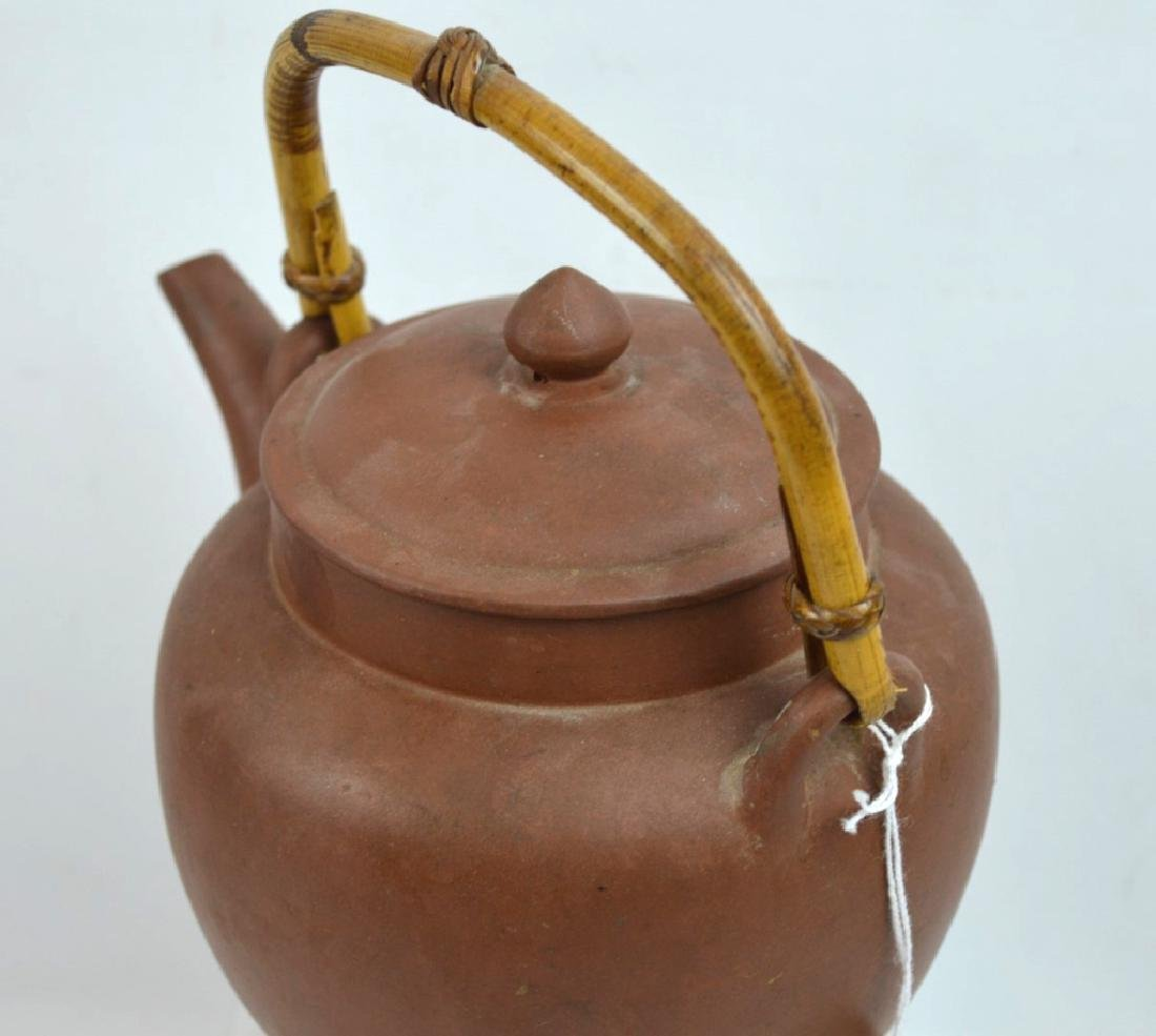 Large Old Chinese Yixing Teapot with Bamboo Handle - 4