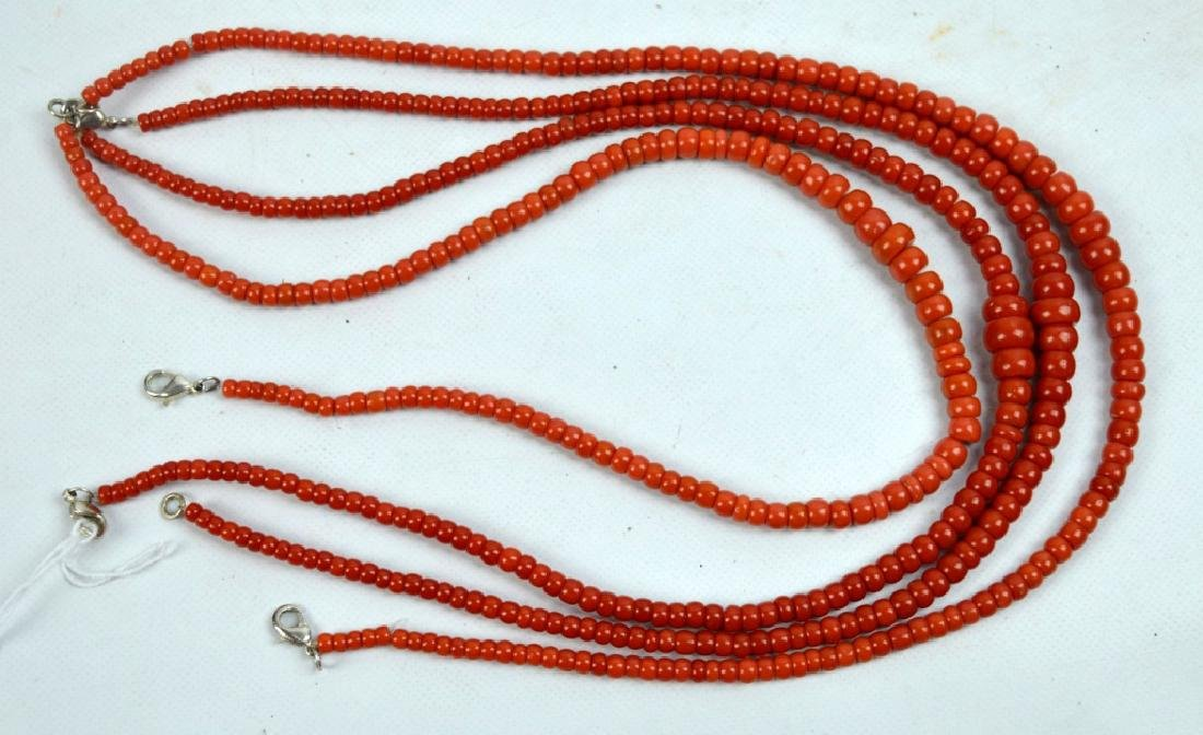 88.7 G Dark Coral Graduated Beads in 4 Necklaces