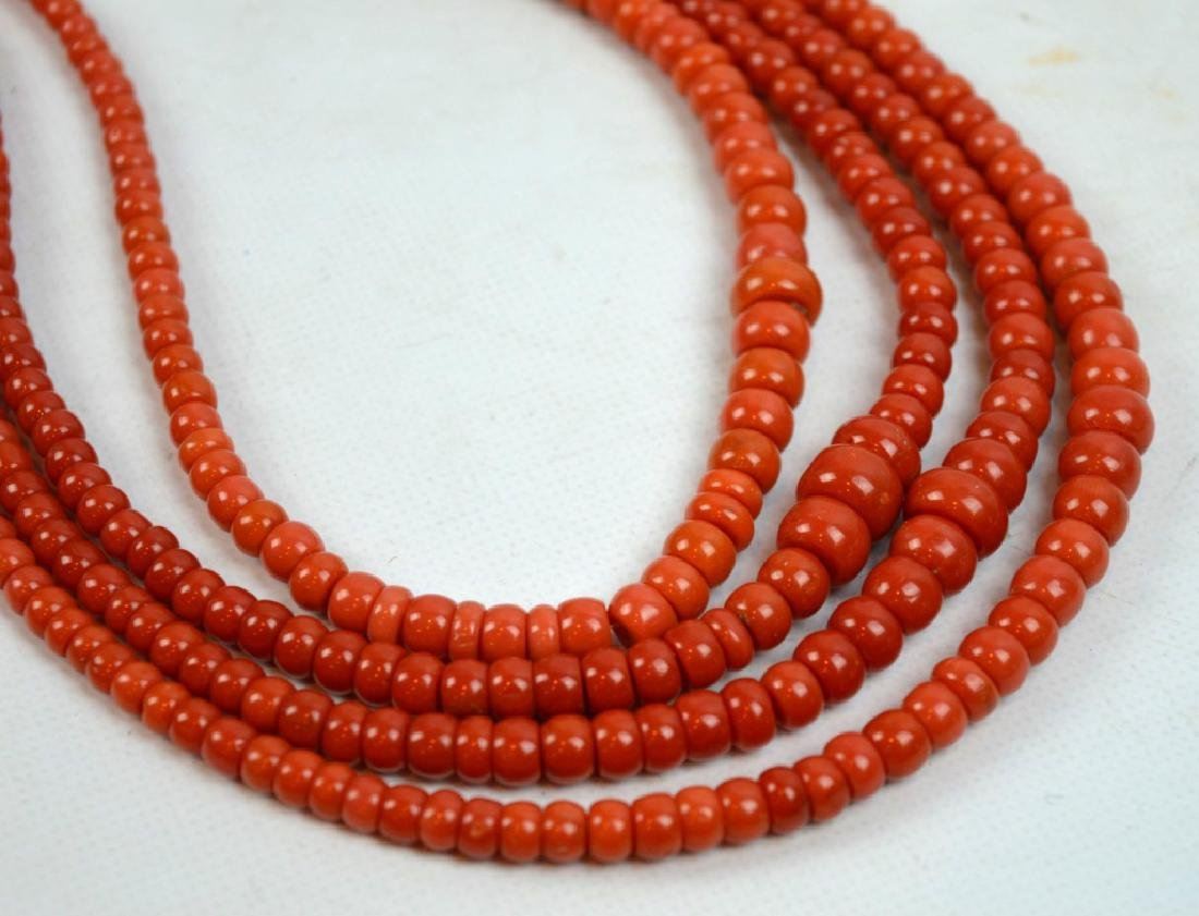 88.7 G Dark Coral Graduated Beads in 4 Necklaces - 2