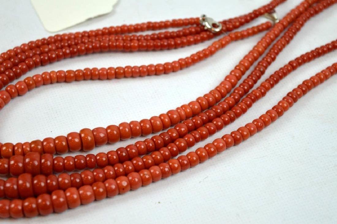88.7 G Dark Coral Graduated Beads in 4 Necklaces - 3