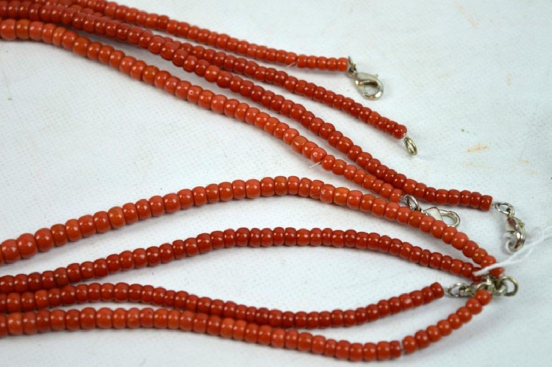 88.7 G Dark Coral Graduated Beads in 4 Necklaces - 4
