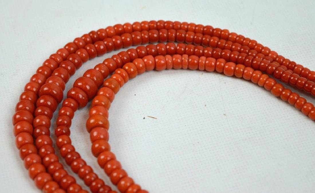 88.7 G Dark Coral Graduated Beads in 4 Necklaces - 5