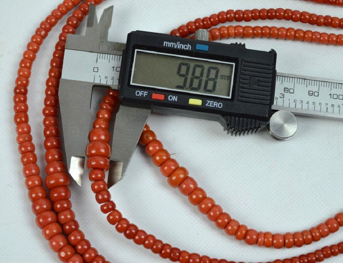 88.7 G Dark Coral Graduated Beads in 4 Necklaces - 6