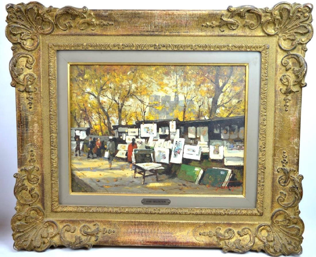 Van Gelderen: Oil on Canvas; Paris Book Stalls