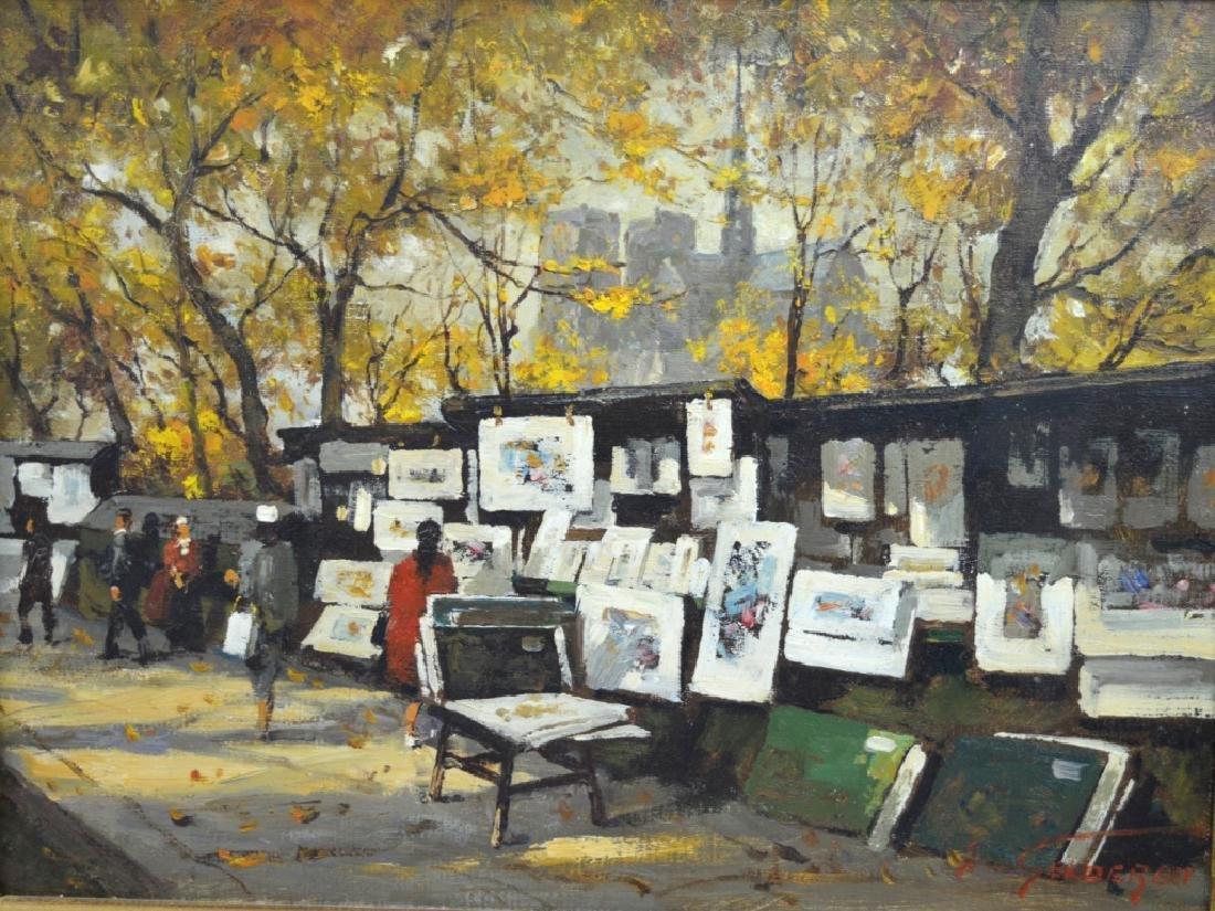 Van Gelderen: Oil on Canvas; Paris Book Stalls - 2