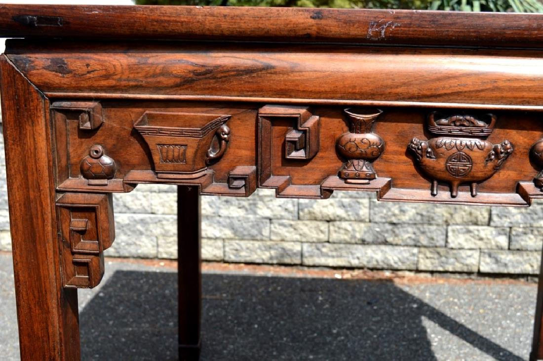 Good Chinese Carved Hardwood Square Table - 10
