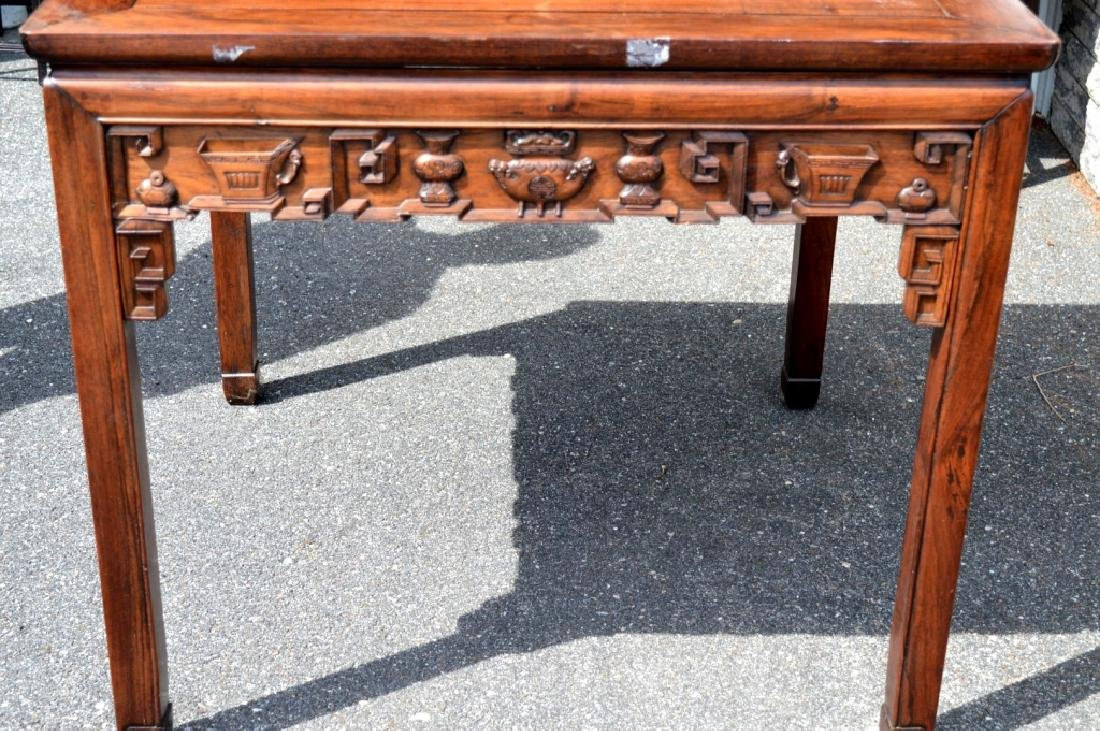 Good Chinese Carved Hardwood Square Table - 2