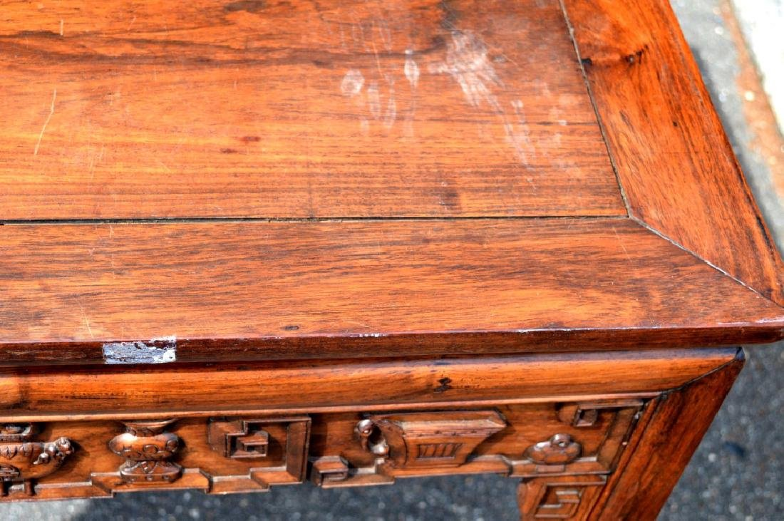 Good Chinese Carved Hardwood Square Table - 5