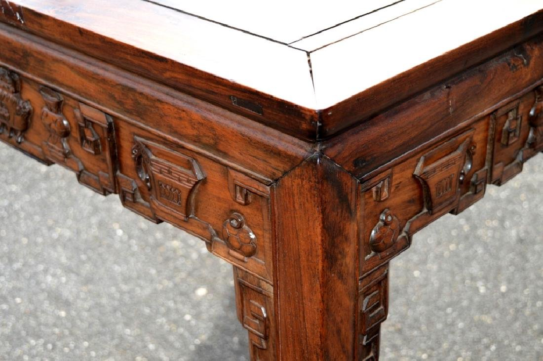 Good Chinese Carved Hardwood Square Table - 6