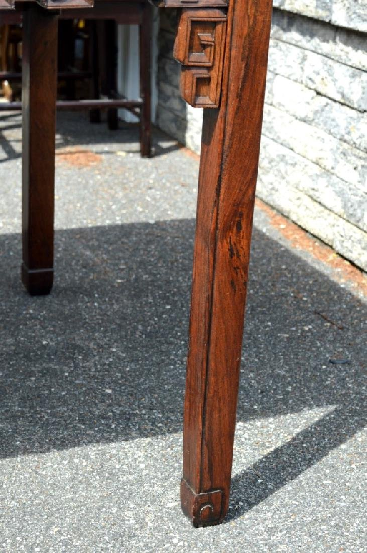 Good Chinese Carved Hardwood Square Table - 9