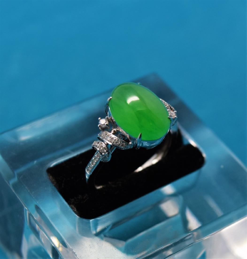 An Icy Apple Green Jadeite Diamond Ring - 2