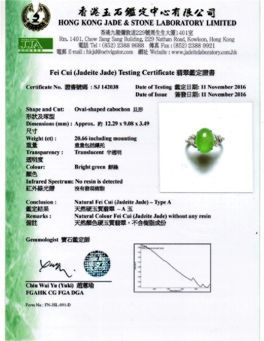 An Icy Apple Green Jadeite Diamond Ring - 3