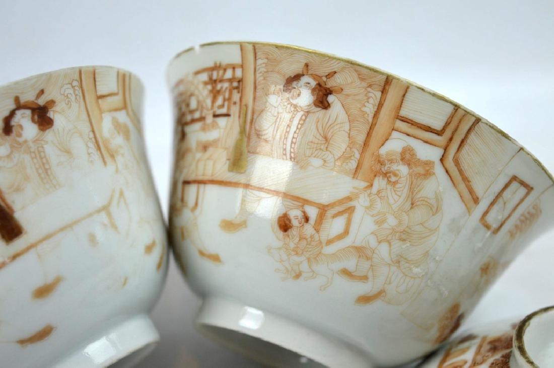 "Pr Jiaqing Porcelain ""Foreigner"" Bowls & Covers - 4"