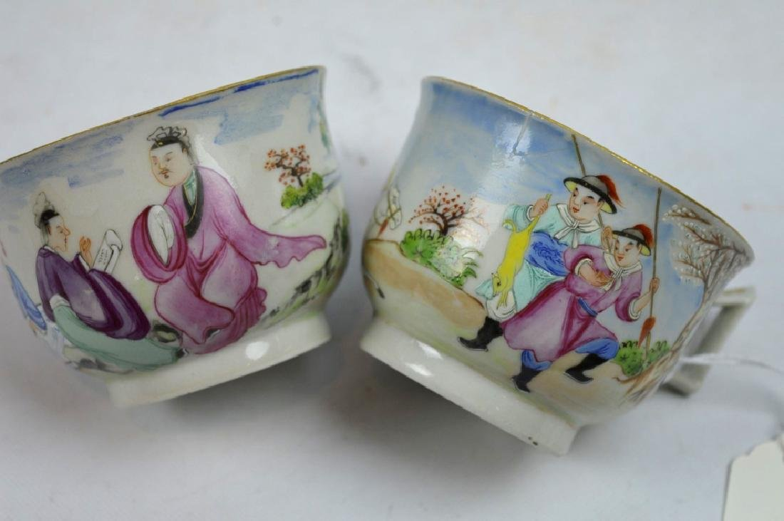 4 - 19th C Chinese Decorated Teacups - 7