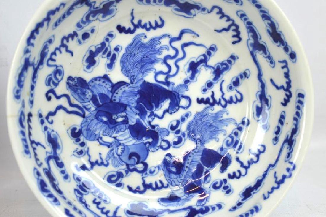 Chinese Underglaze Blue Dragon Plate, Bowl - 5