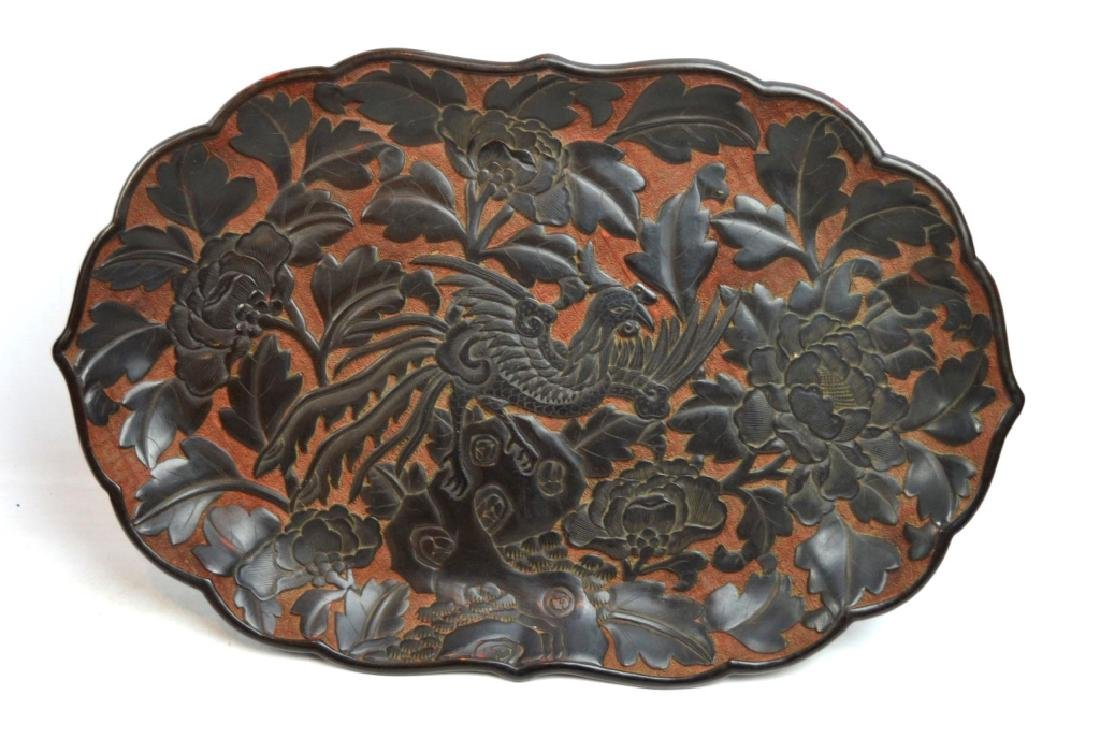 Antique Chinese Red Cinnabar & Black Lacquer Tray