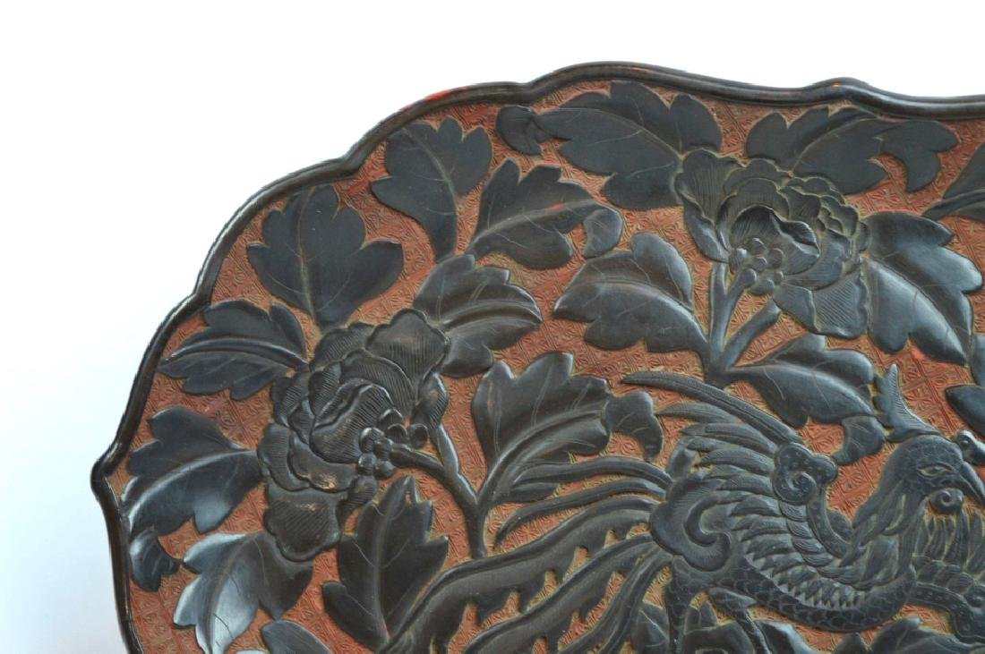 Antique Chinese Red Cinnabar & Black Lacquer Tray - 4